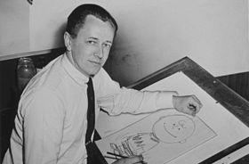 Charles Schulz dessinant Charlie Brown